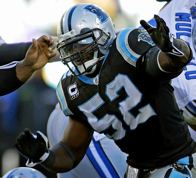 One of the game's best young linebackers, Beason led the Panthers in tackles each of his first two seasons and earned All-Pro honors in 2008.<br><br>Others considered: <br>Jason Campbell (2005)