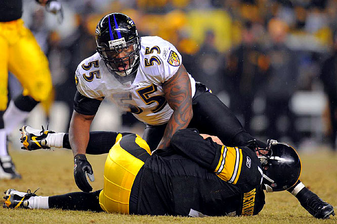 Suggs burst onto the scene as a rookie with 12 sacks and has more than held his own on the Ravens vaunted defense ever since, earning three Pro Bowl berths.<br><br>Others considered: <br>Jerod Mayo (2008)