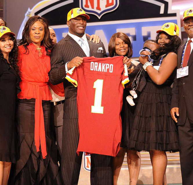 The Redskins selected Texas' Brian Orakpo at No. 13. The defensive end joins a unit that ranked last in the NFC in 2008 with just 24 sacks.