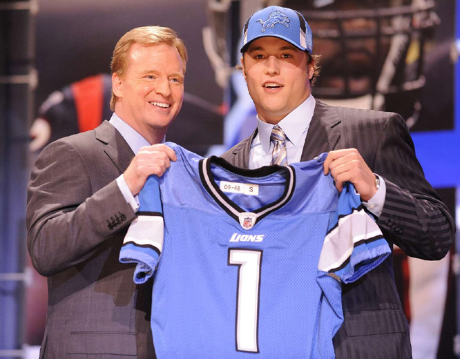 ... Matthew Stafford, The selection was no surprise considering Detroit had already signed the Georgia quarterback to a six-year deal with $41.7 million in guarantees and a maximum value of $78 million.