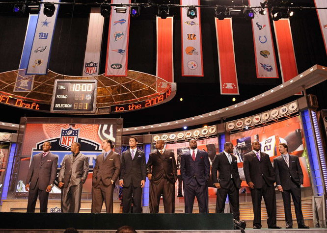 From left: Michael Crabtree, Aaron Curry, Brian Cushing, Josh Freeman, Eugene Monroe, Michael Oher, Brian Orakpo, Jason Smith and Matthew Stafford waited for their names to be announced.