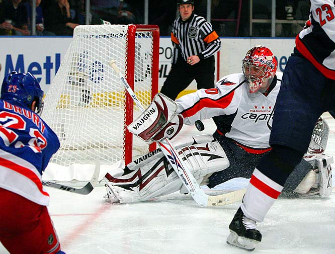 Capitals goalie Simeon Varlamov fails to stop a second period shot from the Rangers' Chris Drury during Game 4 of the Eastern Conference quarterfinals.