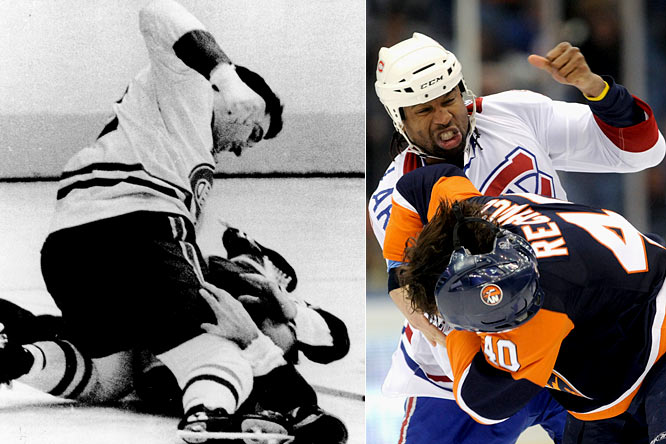 Perhaps the most feared enforcer of his time, Ferguson played for the Canadiens for eight seasons (1963-71) and made good on his promise to be ''the meanest, rottenest, most miserable cuss ever to play in the NHL.'' <br><br>Laraque, Montreal's current enforcer, is a feared fighter frequently cited by his peers as the NHL's toughest man.