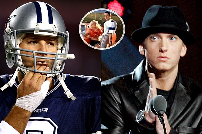 Don't look for Romo and Jessica Simpson to attend an Eminem concert anytime soon. The controversial rapper acted like the Cowboys' quarterback in his new music video, fooling around with a chunkier version of the pop singer. He also knocked Kim Kardashian, so you can probably add Reggie Bush to the list of NFL players who won't be buying Eminem's new CD when it comes out next month.