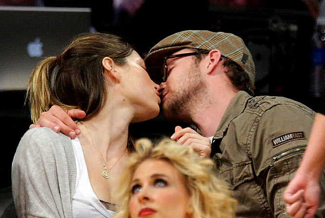Finally, a celebrity couple sitting courtside at a Lakers game that embrace the attention that comes with sitting in front of cameras at a nationally televised sporting event. When Timberlake and Biel appeared on the jumbotron at the Staples Center last week, they didn't duck their heads but started making out instead. Something tells me Brangelina and TomKat wouldn't have had the same response.