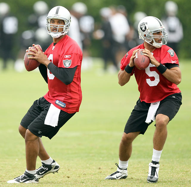 After a 2009 season in which he tallied 3,618 yards and 20 touchdowns for the Redskins, Jason Campbell left Washington in search of a guaranteed starting spot in light of Donovan McNabb's arrival in D.C. He found one, at least for a while, in Oakland, where he threw for 2,387 yards and 13 touchdowns in 2010 before ceding the starting role to Carson Palmer.