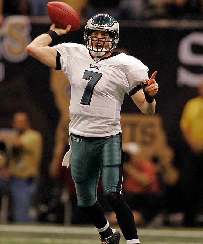 Another QB to hit the restart button twice, on the heels of 2,500-yard seasons -- with the Niners in 2003 and the Bucs in 2008, Jeff Garcia finished his career by heading to Philadelphia in 2009, where he was the backup for McNabb. That gig saw him make one appearance without a single attempted pass to show for it.