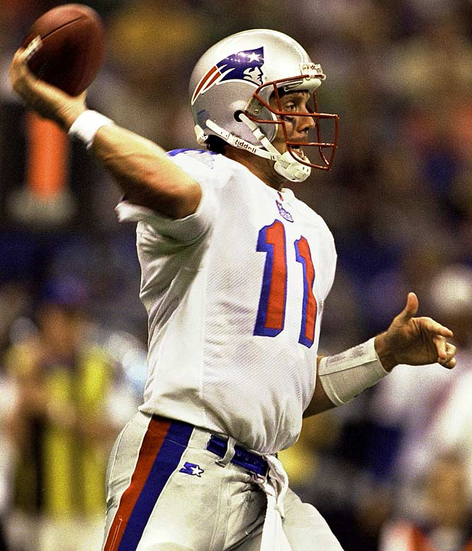 Drew Bledsoe had to restart his career twice. The first time with Buffalo, after being displaced in New England by a guy named Tom Brady, and the second time in Dallas. He threw for 4,359 yards and made the Pro Bowl in the first of three seasons with the Bills, but never led them to the playoffs. He started one full season in Dallas (2005) before being replaced by Tony Romo.