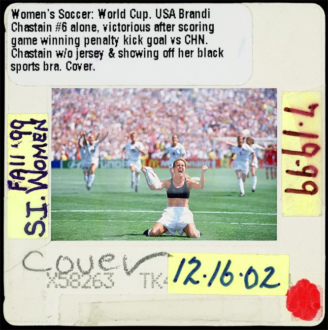 Nike women's sports bras sales would skyrocket after this picture appeared on the cover of SI with Brandi Chastain celebrating after making the winning penalty kick in the 1999 World Cup.  It was instant redemption for the defender, who scored on her own team accidentally on a pass-back gone wrong earlier in the game.