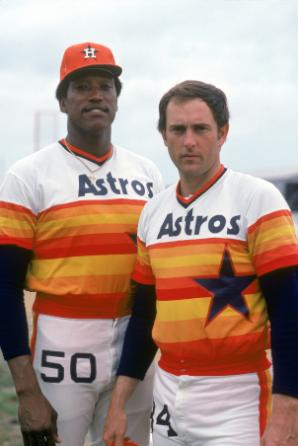 In a 2-1 loss to the Dodgers, J.R. Richard (pictured here with Nolan Ryan) throws a major league record 6 wild pitches in a game.