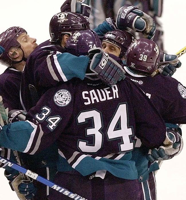 The Mighty Ducks defeated the Dallas Stars, 4-3, in five overtime periods in Game 1 of the second round of the Stanley Cup playoffs. Petr Sykora scored 48 seconds into the fifth overtime to end the fourth longest game in NHL history. The final time was 140 minutes, 48 seconds.