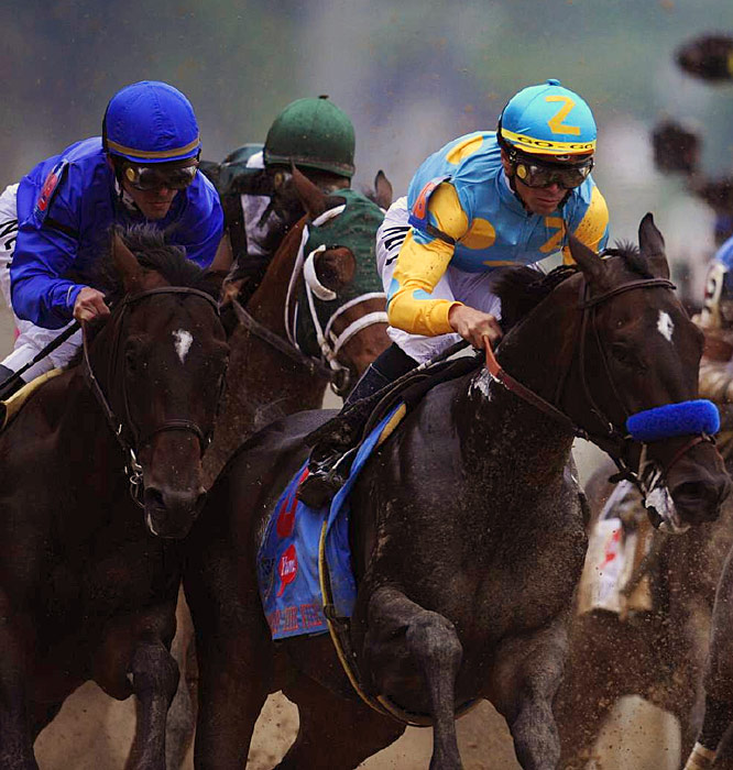Pioneerof the Nile (far right), a 4-1 favorite, briefly led the Derby before settling for second place.