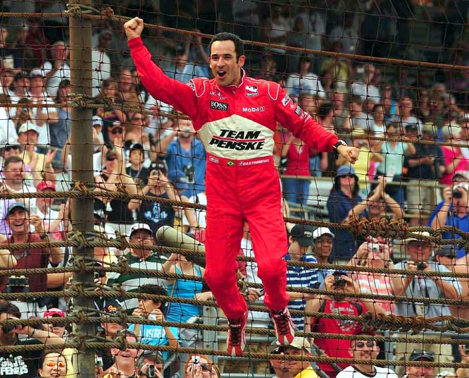 Castroneves celebrated his third victory at the Indy 500.