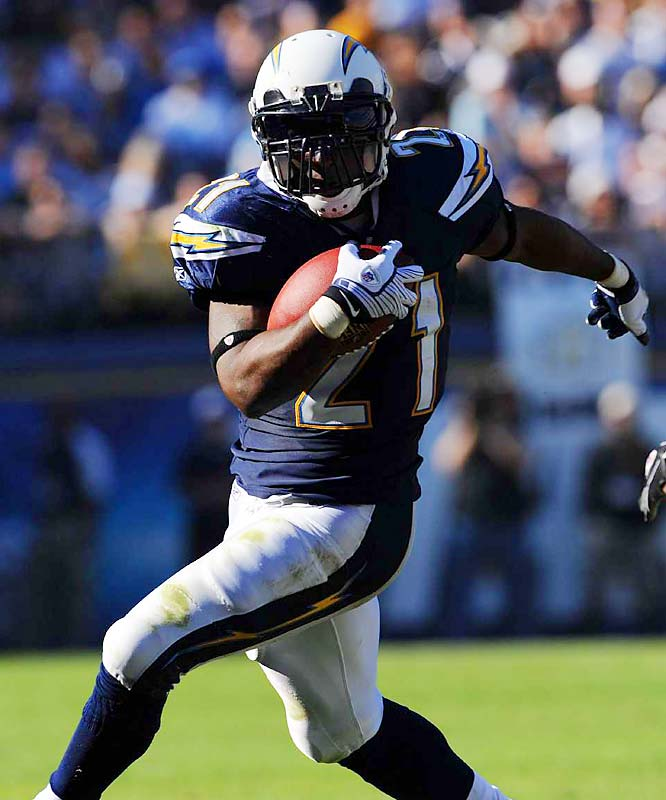 Tomlinson partially tore his groin in the Chargers' regular-season finale, but came back to play the first half of San Diego's playoff win against the Colts before re-aggravating the injury. After agreeing to a new three-year deal with the Bolts, LT hopes he can focus injury-free on the field -- where he's four touchdowns away from tying Marcus Allen for third on the all-time list.