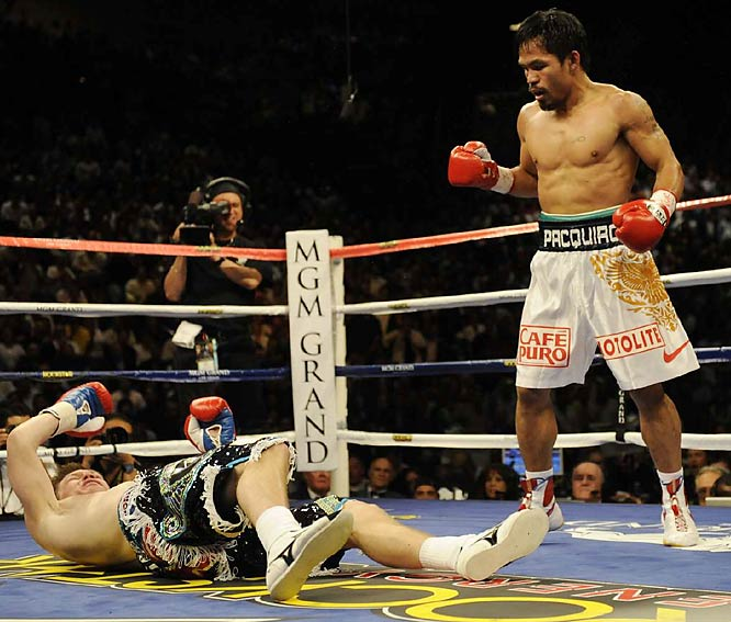 Pacquiao sent Hatton to the canvas for the third and final time with a left cross.