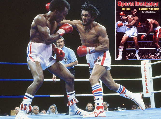 "The Panamanian nicknamed ""Manos de Piedra,"" or ""Hands of Stone,"" is widely considered to be one of the greatest fighters of the past century. His 103-16 record, with 70 KOs, puts him in an elite boxing arena, while his four divisional titles -- lightweight, welterweight, light middleweight and middleweight -- clearly make Duran (shown defeating ""Sugar"" Ray Leonard in their first meeting in Montreal) among the most dominant boxers ever."