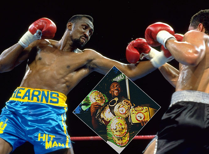 "With a destructive right hand and the ability to knock out an opponent like no other, ""The Hitman"" Hearns became the first boxer to claim world titles in four divisions and in five divisions. The knockout king reigned atop the welterweight, super welterweight, light heavyweight, middleweight and super middlweight."
