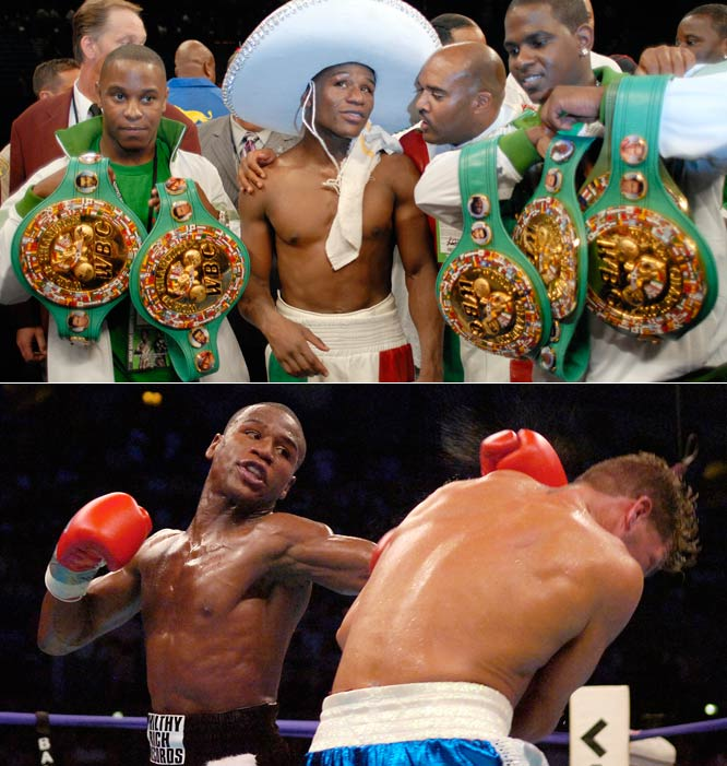 """When he retired in 2007, Floyd Mayweather Jr. finished with a flawless 39-0 record (25 KOs), while also reigning atop the 130-,135-, 140-, 147- and 154-pound divisions. Luckily for fight fans, """"Money May"""" announced he'll be returning to the ring in July to take on Juan Manuel Marquez."""