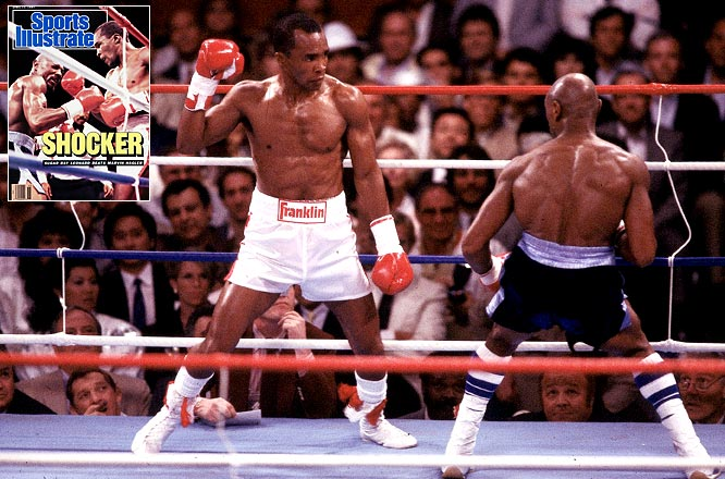 "In his 20-year professional career, ""Sugar"" compiled an astounding 36-3-1 record (25 KOs) while defeating the likes of Roberto Duran, Thomas Hearns and Marvin Hagler (black trunks). Leonard earned world titles at light heavyweight, super middleweight, middleweight, junior middleweight and welterweight. In 1981, after he claimed his second world title, Leonard was named SI's ""Sportsman of the Year."""