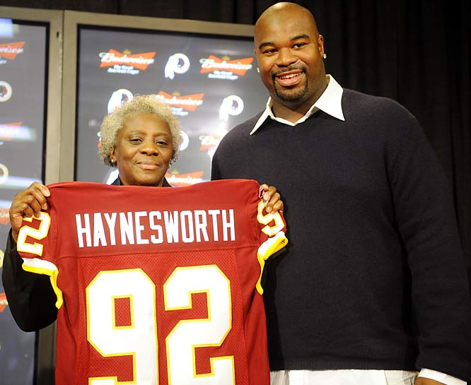 Linda and Albert Haynesworth after the free-agent defender signed with the Washington Redskins.