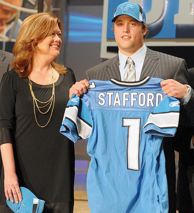 Matthew Stafford, the No. 1 pick in the 2009 NFL Draft, with his mom at Radio City.