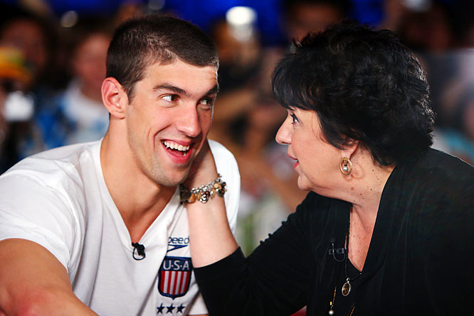Olympic gold-medalist Michael Phelps and his mother, Debbie, on the NBC Today Show set during the Beijing Olympics.
