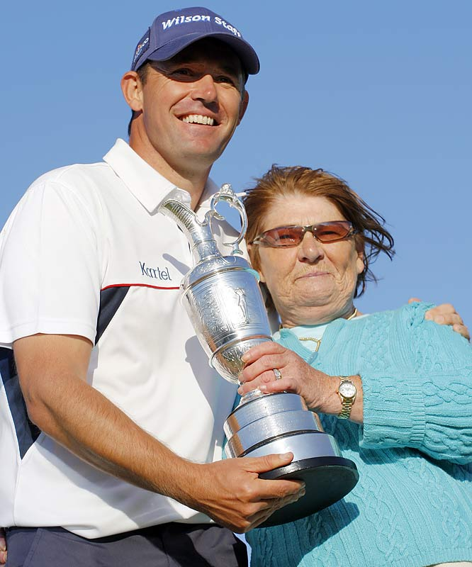 Padraig Harrington and his mother after he won the 2008 Open at Royal Birkdale.