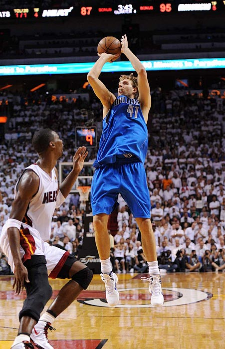 "It was a series of firsts for Dallas: Dirk Nowitzki won his first ring and was named Finals MVP after averaging 27 points and 9.4 rebounds in the Finals; veteran point guard Jason Kidd finally got a title at age 38; and the Mavericks earned their first championship in franchise history with a 4-2 win over the Miami Heat. It was also one of the most thrilling series to date, with loads of talent on the floor and a slew of controversies. After LeBron's infamous ""Decision"" to join fellow superstars Dwyane Wade and Chris Bosh in Miami the summer before, James and the Heat garnered as many haters as fans as they pushed through to the Finals. And it seemed the haters got their wish as vintage LeBron James disappeared and a mediocre player took his place when Miami needed him most."
