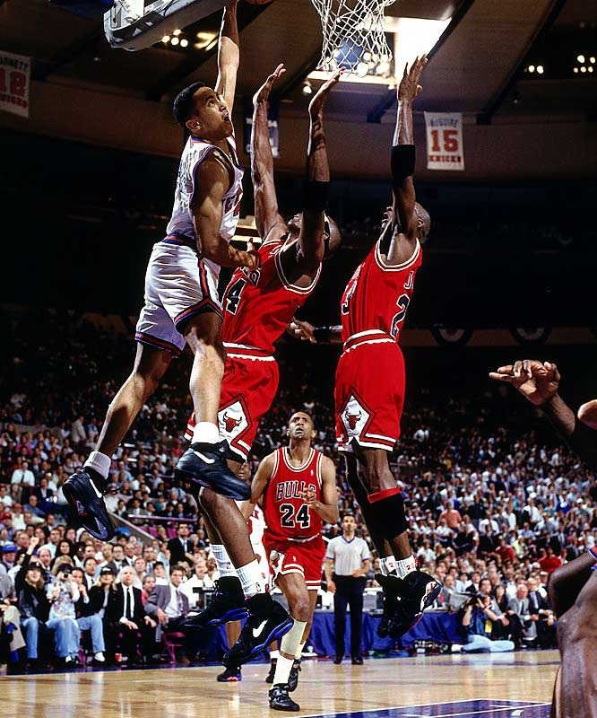 Who can forget Charles Smith flailing away from point-blank range in the pivotal Game 5? Given Smith's epic troubles to finish at the rim, it's easy to overlook the fact that the defending champion Bulls actually trailed the top-seeded Knicks 2-0 in the series (John Starks' electrifying baseline dunk was a notable highlight from Game 2) before ripping off four consecutive victories. Michael Jordan scored 54 points in Game 4 and recorded a triple-double in Game 5, the latter helping the Bulls break the Knicks' 27-game home winning streak.