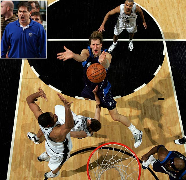 Five of the seven games were decided by five points or fewer between 60-win Dallas and 63-win San Antonio -- and that doesn't even include the Mavs' 119-111 overtime road victory in Game 7, during which the Spurs erased a 20-point deficit and nearly completed their comeback from a 3-1 series hole. Along the way, Jason Terry punched Michael Finley below the belt, Mark Cuban cursed at Bruce Bowen and Cuban was fined $200,000 for criticizing the referees. ''This is the best series I've ever played,'' Tim Duncan said. ''Both teams gave it their all.''
