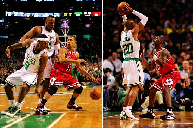 With Kevin Garnett's absence helping to level the playing field, defending champion Boston and upstart Chicago played a seven-game series that included a record four overtime games (seven extra periods in all) and highly entertaining duels between Rajon Rondo and Derrick Rose at point guard and Ray Allen and Ben Gordon at shooting guard.