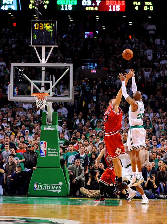 After a two-point first half (which came on the heels of a 1-for-12 Game 1), Ray Allen erupted for 28 second-half points, including the tiebreaking three-pointer with 2 seconds left, as the host Celtics avoided falling into a 2-0 hole. The sharpshooter's clutch play down the stretch spoiled an equally scintillating performance from another former UConn guard, Ben Gordon, who finished with 42 points for the Bulls. Rajon Rondo, who is averaging a triple-double in the series, had 19 points, 12 rebounds and 16 assists for Boston.