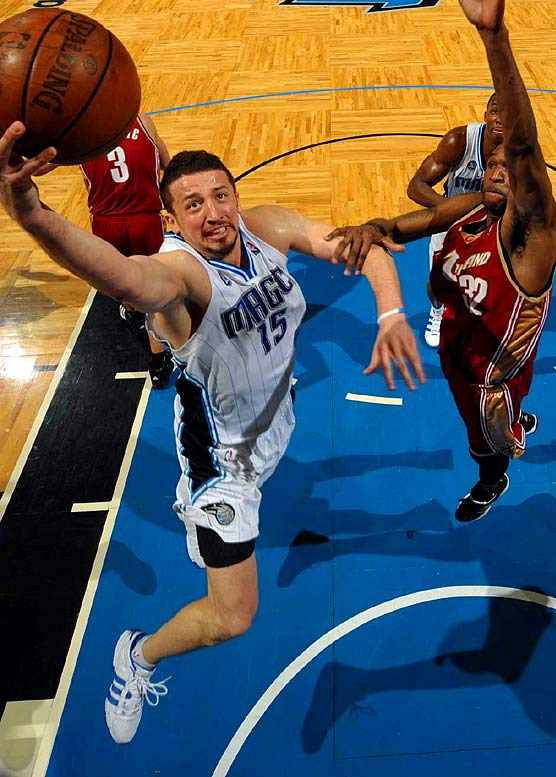 Though his home struggles have brought down his overall numbers, Turkoglu has delivered in key moments for Orlando. He made the game-winning three-pointer to beat Philadelphia in Game 3 of the first round; collected 25 points and 12 assists in the Game 7 victory at Boston in the second round; recorded 15 points and 14 assists in the Game 1 victory at Cleveland in the conference finals; and would've been credited with the game-winner in Game 2 at Cleveland had LeBron James not one-upped him in the final second.