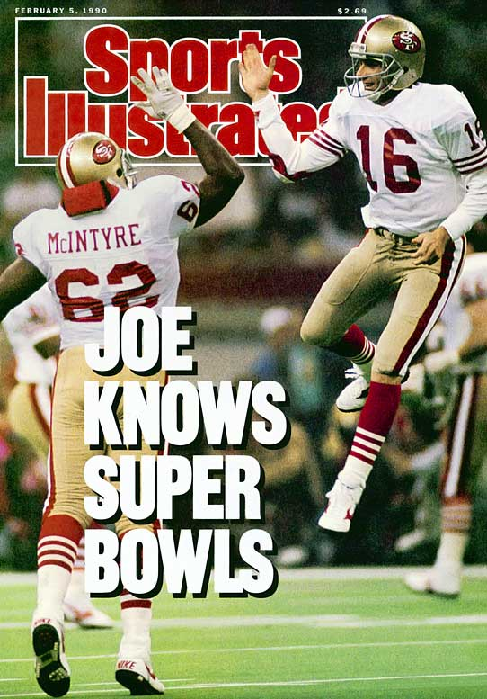 Pairing up with Jerry Rice, Joe Montana earned a record-third Super Bowl MVP, as he completed 22 of 29 passes for 297 and a Super Bowl-record five touchdowns to destroy Denver.