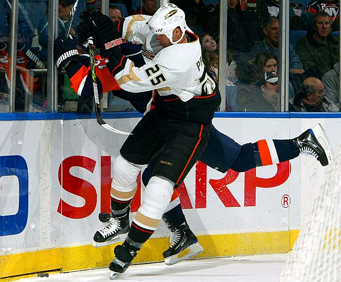 A defensive pillar of the Ducks' 2007 Stanley Cup team and this year's squad that extended defending champ Detroit to seven games in the west semis, Pronger makes every trip into Anaheim's zone an exercise in pain for foes and fearlessly blocks shots (playoff-best 34 after two rounds). He also led the scrappy Oilers to the 2006 Cup final. In 1999-2000 with St. Louis, he became the first defenseman since Bobby Orr to win the Hart and Norris trophies in the same season.