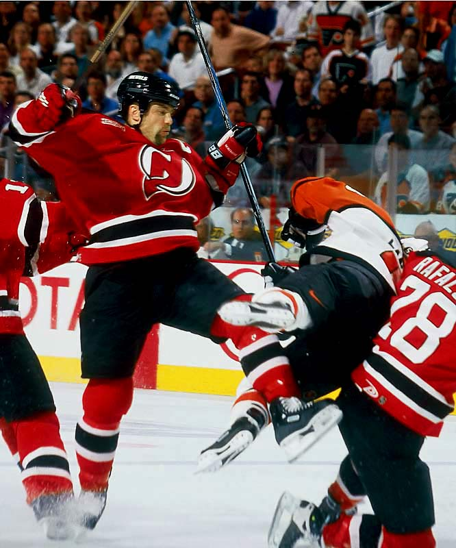 Perhaps the ultimate impact player, the 6-2, 215-pound defenseman delivered breathtaking hits (see: the concussion he gave the Flyers' Eric Lindros in the 2000 Eastern finals). A member of the Devils' three Stanley Cup champions, Stevens ranks among the NHL's top 10 all-time leaders in both regular- and postseason games and was elected to the Hall of Fame in 2007.