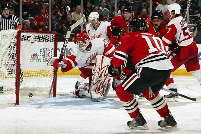 Chicago's Patrick Sharp (10) scored the game-winner in its 4-3 overtime win May 22 over Detroit. The Blackhawks still trailed in the West semifinals series two games to one.