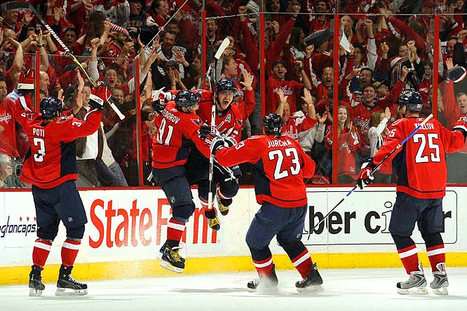 Ovechkin's first playoff hat trick came after breaking a tie with a pair of goals less than 3 minutes apart in the third period in the Capitals' 4-3 victory over the Penguins in Game 2.