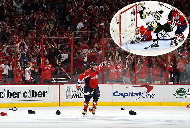 "The superstars swapped hat tricks in Game 2, but Ovechkin's pair less than three minutes apart in the third period gave the Capitals a 4-3 win and 2-0 series edge. ""Sick game. Sick three goals by me and Crosby,'' Ovechkin said. ''It's unbelievable to see how fans react, how fans go crazy. The atmosphere right now, it's unbelievable in town. You see all the red, and -- probably I'm afraid to go home right now.''"