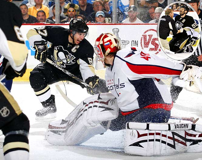 The Penguins got even in Game 4 by blitzing Varlamov with three goals in less than 12 minutes during the opening period on the way to a 5-3 win. Crosby scored his playoffs-leading ninth goal and tacked on an assist. Ovechkin was kept off the score sheet by his shadow, Penguins blueliner Rob Scuderi, but made his presence felt by colliding with Pittsburgh's Sergei Gonchar late in the first period. Gonchar had to be helped off the ice and did not return.