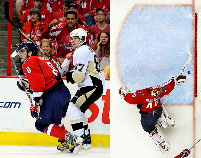 Their much-anticipated playoff showdown in the Eastern Conference semifinals opened in Washington with Crosby and Ovechkin trading goals. But it was Simeon Varlamov, the Capitals' rookie goalie, who stole the show and the win. Varlamov made 34 saves, including a dazzling diving desperation stop on Crosby that preserved a 2-2 tie late in the second period. Tomas Fleischmann scored with 18:14 to go in the third to give the Capitals a 3-2 win.