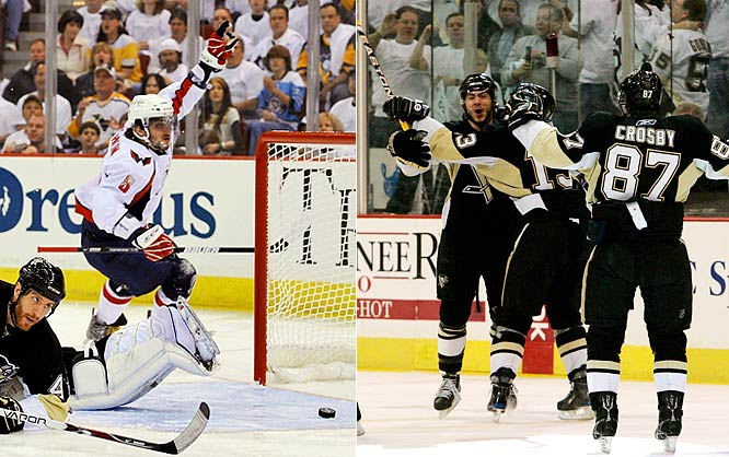 Back home and desperate, the Penguins held Ovechkin to one goal in Game 3 as Crosby helped Evgeni Malkin snap a scoring slump. Crosby set up Malkin's goal that put Pittsburgh up 2-1 with 4:59 left in the third period. The Kid's faceoff win also led to Kris Letang's first career playoff goal -- a blast from the point at 11:23 of overtime -- which gave the Penguins the 3-2 win.