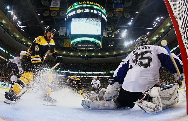 Eventual Conn Smythe Trophy-winner (as playoff MVP) Tim Thomas stopped all 24 shots he faced, Nathan Horton scored with 7:33 left in regulation, and the Bruins hung on to beat the upstart Lightning 1-0 and reach the Stanley Cup Final for the first time since 1990.