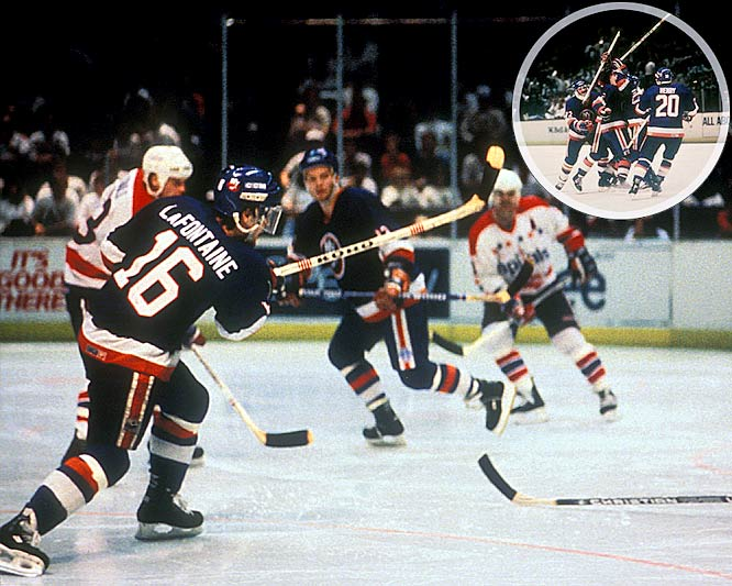 Known as the Easter Epic, the Isles and Caps battled in Washington through 69 minutes of extra play after New York's Bryan Trottier tied the game 2-2 with 5:22 left in regulation. At 1:57 a.m. -- nearly seven hours after the opening face-off -- Pat LaFontaine beat Caps goalie Bob Mason with the game-winner. Some players lost up to 15 pounds during the game and were reduced to taking 20-second mini-shifts. Isles goalie Kelly Hrudey made a whopping 73 saves.