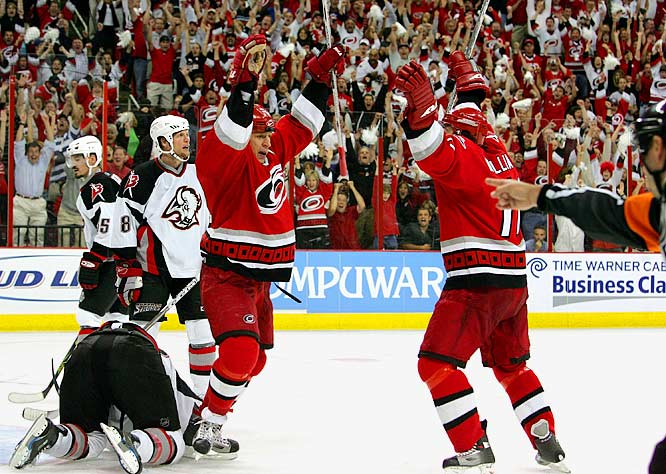 Hurricanes captain Rod Brind'Amour was the hero, pouncing on a rebound and beating Buffalo's Ryan Miller to snap a 2-2 tie at 11:22 of the third period. Brind'Amour also assisted on Justin Williams' tally in the final minute to seal the win before a delirious home crowd. Rookie goaltender Cam Ward continued to make his case for the Conn Smythe Trophy as playoff MVP by making 22 saves.