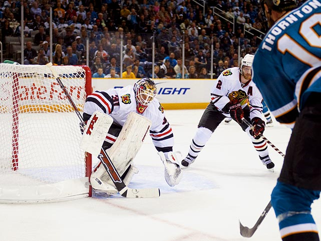 Stepping into the starting role during the postseason, with only 42 games of NHL experience, the 26-year-old Finnish netminder (whose age made him technically ineligible for the Calder Trophy) helped Chicago end its 49-year Cup drought. Steady and dependable (he sparkled with a 44-save 2-1 win over the Sharks in Game 1 of the Western Conference Final), Niemi went 22-16-6 with a 2.63 goals-against average, a .910 saves percentage and two shutouts during the Blackhawks' championship run. A salary cap squeeze forced Chicago to part with several players after the season, and after Niemi was awarded a $2.75 million salary by an arbitrator, the Blackhawks decided to let him sign a one-year $2 million deal with San Jose in September2010.