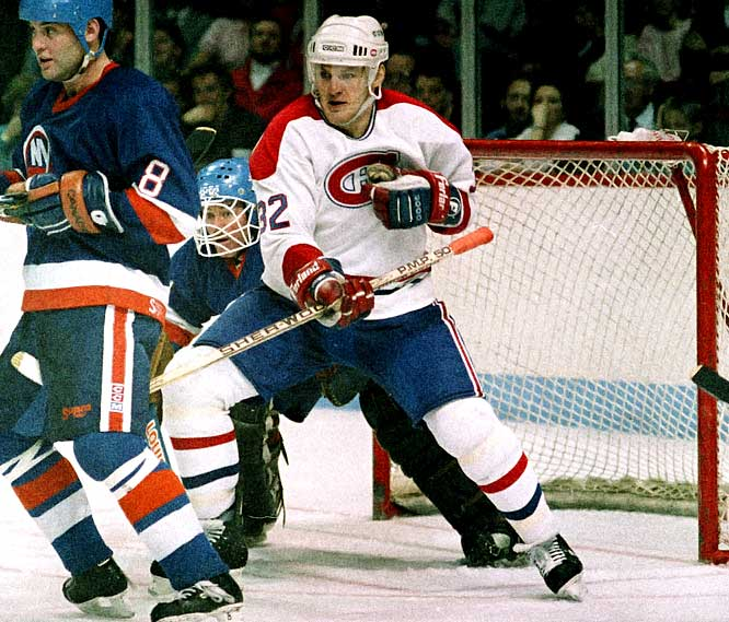 A notorious instigator, pest and pot-stirrer, Lemieux established his reputation for elevating his game in the postseason as a feisty 20-year-old right wing in 1986. He scored 10 goals in 20 playoff games as Montreal won the Stanley Cup. Four of his 10 tallies were game-winners, and Lemieux also embellished his legend by famously biting the finger of Calgary forward Jim Peplinski in the Cup final.