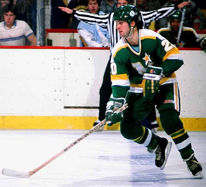 The hard-charging, flamboyant right wing was called up to Minnesota in February of the 1980-81 season and scored 18 goals and 30 points in 32 games. In the playoffs, the 21-year-old Ciccarelli set the NHL rookie records for postseason goals (14) and points (21) in 19 games as the North Stars barged past Boston, Buffalo and Calgary to reach the Stanley Cup Final, where they fell to the Islanders in five.