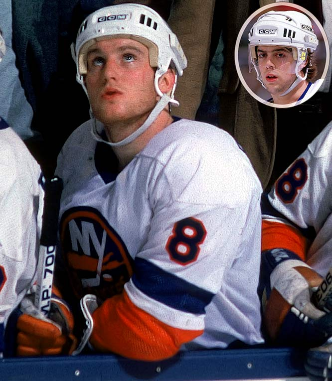The two Pats joined the Isles' dynasty late in its Drive For Five and gave the battered team a boost of grit and energy for the 1984 playoffs. Flatley, 20, was a hard-working right wing with a nose for the net, an appetite for contact and some scoring touch. Elegant center LaFontaine, 19, was the Isles' first draft pick (third overall) in 1983. Flatley scored nine goals and 15 points in 21 playoff games while LaFontaine added nine points as the Isles reached the Cup final only to fall to Gretzky's rising Oiler dynasty.