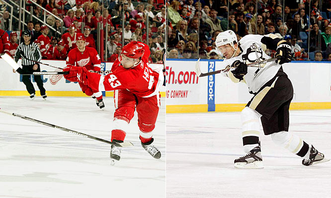 The ability to seamlessly mix up their lines, or morph minor leaguers like Darren Helm (left) and Ville Leino into reliable contributors, demonstrates Detroit's unmatchable depth up front. The Penguins may have an advantage on the back end. They've gone seven deep on D, using back-bencher Philippe Boucher (right) to keep the entire unit fresh. That could be a difference-maker if this series goes long. <br><br>Edge: Even